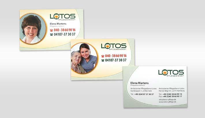 Visitenkarten Gestaltung und Druck | Lotos Pflegedienst